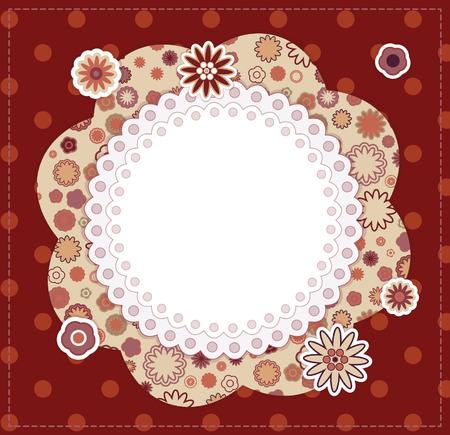 Floral baby frame on dotted background  Illustration