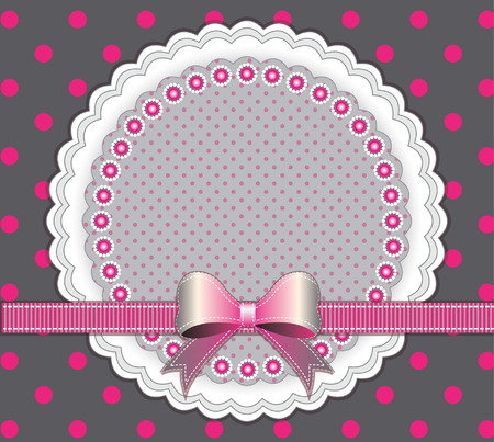 Baby frame with pink bow on dotted background  Vector