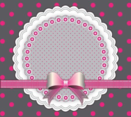 lazo rosa: Marco del beb� con el arco rosado en el fondo de puntos Vectores