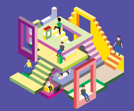 Isometric man in levels, Vector Illustration. depict people in various activities on blue background Illustration