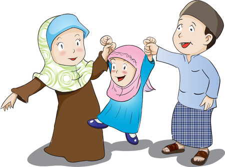 Happy Muslim Family, Vector Illustration,  Patani is Malay people in southern of Thailand