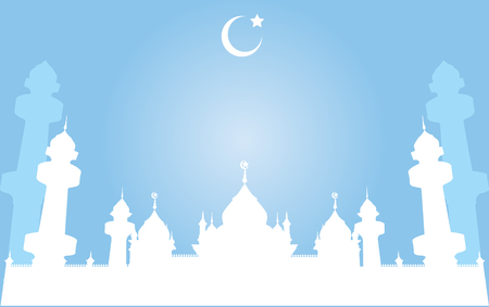 crescent: Silhouette Mosque, Domes and Minarets in Bright night Background with Crescent Moon, Vector Illustration Illustration