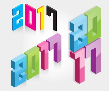 3d design element: A set of colorful New Year 2017 icon. 3d design element. Isometric vector illustration.