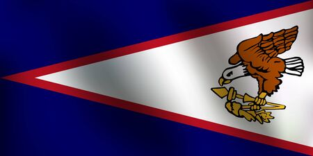 Flag of American Samoa with a little Waving, Shading & Flag Colors separated layers - Vector Illustration Illustration