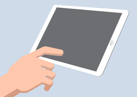 using tablet: A hand touch tablet - Vector Illustration