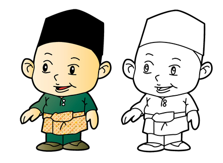 Coloring Melayu Muslim Boy - Vector Illustration Illustration