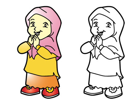 Coloring Melayu Muslim girl - Vector Illustration Illustration
