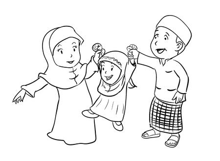 Coloring Happy Muslim Family - Vector Illustration