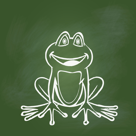 Hand drawing frog on textured green board. Education Concept, Vector Illustration