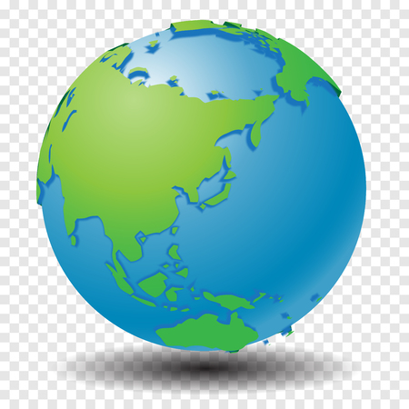 Globe with world map, show Asia region with smooth vector shadows on transparency grid - vector illustration Illustration