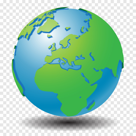 Globe with world map, show Middle East and Europe region with smooth vector shadows on transparency grid - vector illustration