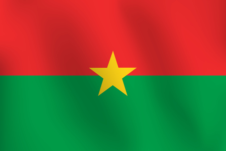 Flag of Burkina Faso a little Waving, Shading & Flag Colors separated layers - Vector Illustration.