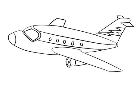 Air plane Black and White Cartoon Vector Illustration for Coloring Book - Line Drawn Vector Çizim