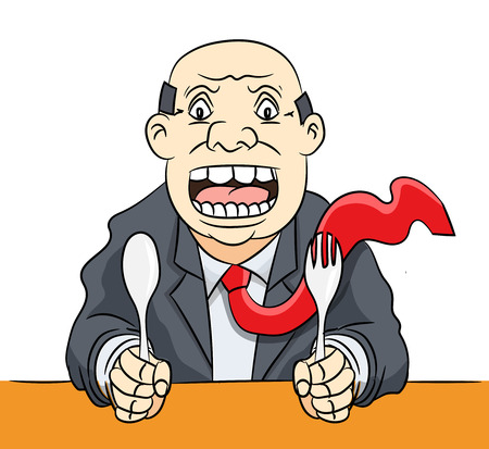humorous: Cartoon of Hungry Businessman was angry and waiting food -Vector Illustration
