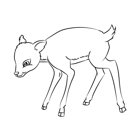 Hand drawn sketch of Deer Rat isolated, Black and White Cartoon Vector Illustration for Coloring Book - Line Drawn Vector