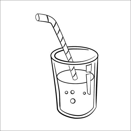 Vaso De Jugo De Dibujos Animados Aislado Sobre Fondo Blanco
