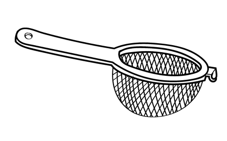 Hand drawn sketch of Sieve isolated, Black and White Cartoon Vector Illustration for Coloring Book - Line Drawn Vector