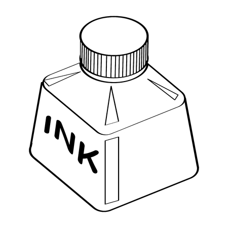 Hand drawn sketch of Ink Bottle isolated, Black and White Cartoon Vector Illustration for Coloring Book - Line Drawn Vector Ilustração