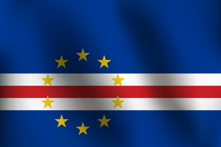 Flag of Cape Verde with a little Waving, Shading & Flag Colors separated layers - Vector Illustration