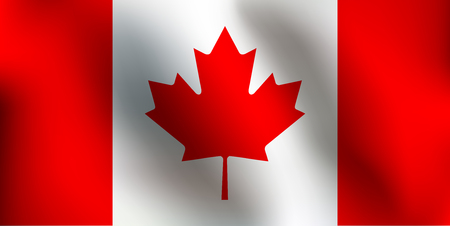 Flag of Canada with a little Waving, Shading & Flag Colors separated layers - Vector Illustration