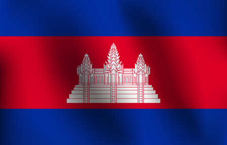Flag of Cambodia with a little Waving, Shading & Flag Colors separated layers - Vector Illustration Illustration