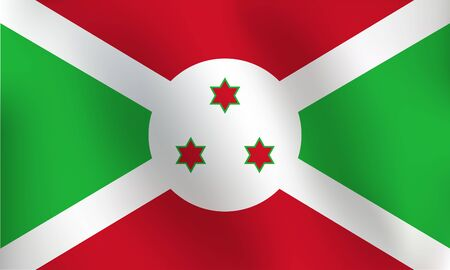 Flag of Burundi with a little Waving, Shading & Flag Colors separated layers - Vector Illustration