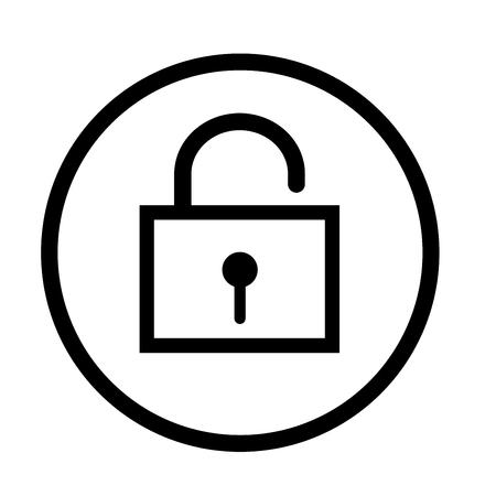 Unlock icon, iconic symbol inside a circle, on white background. Vector Iconic Design. Imagens - 81503697