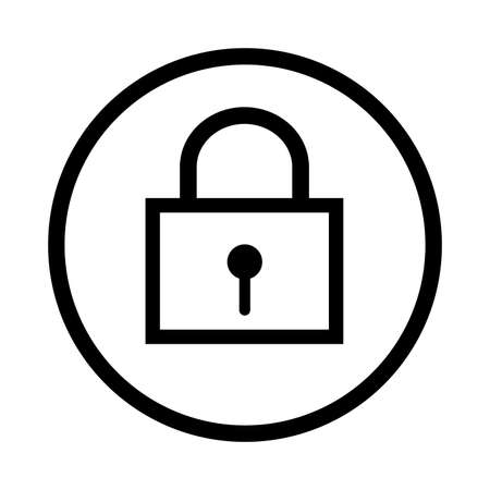 Lock icon, iconic symbol inside a circle, on white background. Vector Iconic Design.