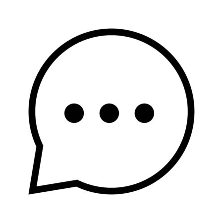 Chat sign, three dots icon, iconic symbol  inside speech bubble on white background. Vector Iconic Design.