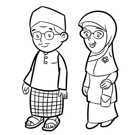 Hand drawn sketch of Adult Malay Character Cartoon isolated, Black and White Cartoon Vector Illustration for Coloring Book - Line Drawn Vector
