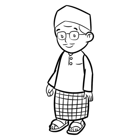 Hand drawn sketch of Adult Malay Man Character Cartoon isolated, Black and White Cartoon Vector Illustration for Coloring Book - Line Drawn Vector