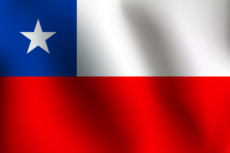 Flag of Chile with a little Waving, Shading & Flag Colors separated layers - Vector Illustration Illustration