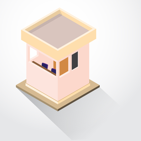 Flat 3d Isometric Security Lodge, guard room, isometric for graphic template - 3D vector illustration. Illustration
