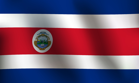 Flag of Costa Rica with a little Waving, Shading & Flag Colors separated layers - Vector Illustration