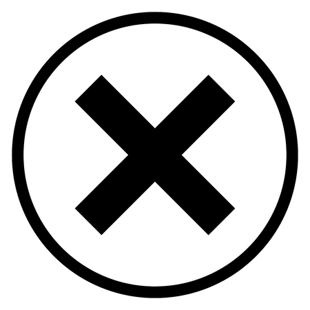 cancellation: X-cross rounded icon, iconic symbol on white background. Vector Iconic Design.