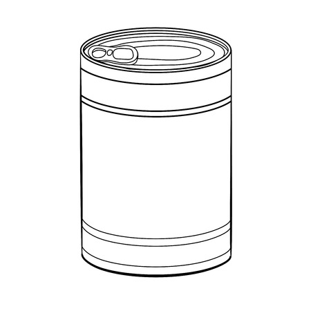 Hand drawn sketch of Food Can isolated, Black and White simple line Vector Illustration for Coloring Book - Line Drawn Vector