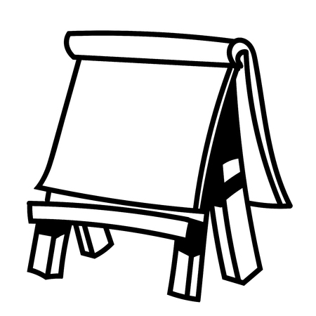 Hand drawn sketch of Paper board on wooden easel, Black and White simple line Vector Illustration for Coloring Book - Line Drawn Vector Illustration