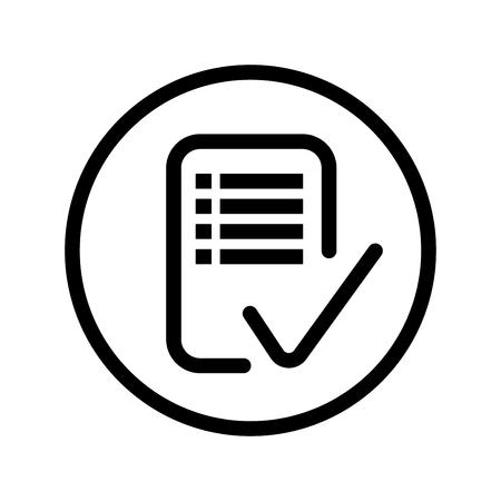 checklist: Checklist icon, symbol inside a circle, on white background. Vector style Design.