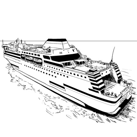 Hand drawn sketch of Ferry, Black and White simple line Vector Illustration for Coloring Book - Line Drawn Vector. Banco de Imagens - 83575829