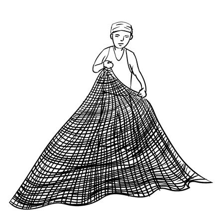 Bergeben Sie gezogene Skizze des Fischers, der Netz, einfache Schwarzweiss-Linie Vektor-Illustration für Malbuch - Linie gezogener Vektor verwendet. Standard-Bild - 83575950