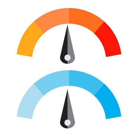 Vector Illustration of Temperature Meter with warm and cool levels, flat style, EPS10.