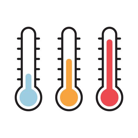 Illustrazione di vettore del termometro con i livelli caldi e freddi, stile piano, EPS10.