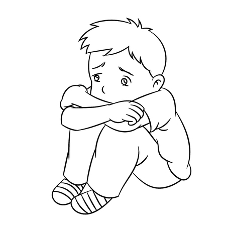 Cartoon of a boy sad and lonely child or student. Ideal for catalogs, informational, educational and institutional material