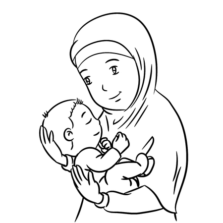 Hand Drawing of a Muslim Mother with demonstration of affection for his son - Vector Illustration Illustration