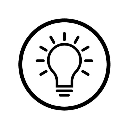 Pictograph of Light Bulb icon in circle, iconic symbol on white background