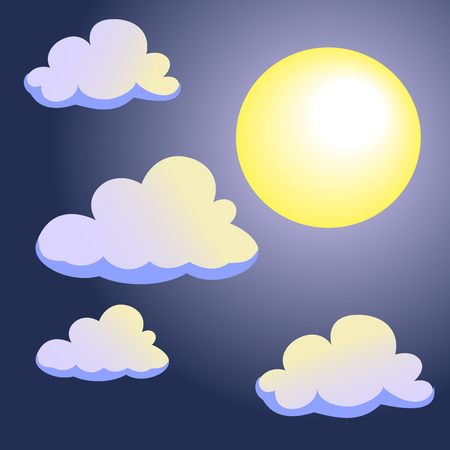 Moon and Clouds on Night Sky Background, Cartoon style-Vector Illustration