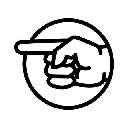 Señalando el icono de la mano, símbolo icónico dentro de un círculo, en la cuadrícula de transparencia. Vector diseño icónico. Foto de archivo - 84631414