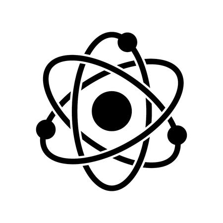 Icône de l'atome, symbole emblématique, sur fond blanc. Vector Iconic Design.
