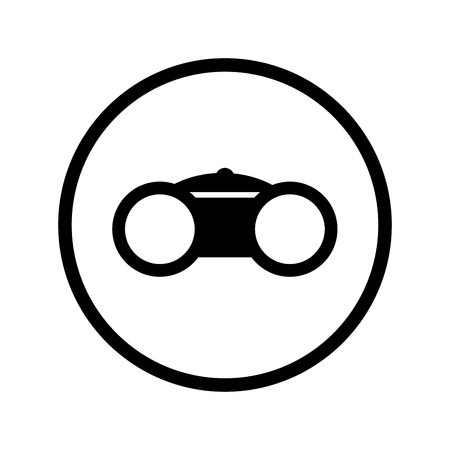 Binocular icon, spyglass iconic symbol inside a circle, on white background. Vector Iconic Design.