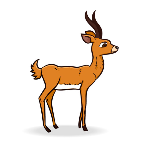 black and white: Cute antelope cartoon, isolated on white background - Vector Illustration